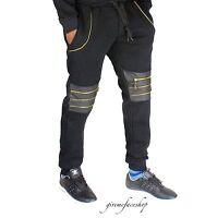 Time Is Money G da corsa zip-star SIMILPELLE Pantaloni Tuta, Neri Unisex