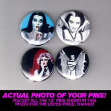 "LILY MUNSTER - 1.5"" PINS / BUTTONS (vampire poster print vintage retro goth tv)"