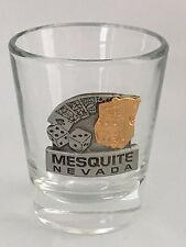 Mesquite Nevada 3D Shot Glass and Pewter Gambling Cards Dice Slot Machine EUC