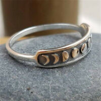 Handmade Vintage 925 Silver Moon Phase Finger Ring Moon Band Jewelry Size 7-10
