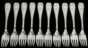 """TIFFANY & CO COLONIAL (10) STERLING SILVER 7"""" FISH FORKS"""