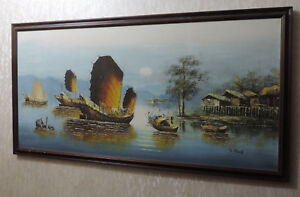Original S Cheung Oil Painting on Canvas Framed Oriental Chinese Junk Boats