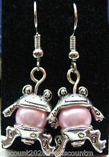 Tibetan Silver Frog Dangly Earrings with Candy Pink Glass Pearls *Cute Gift*