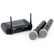 Skytec Wireless Microphone Set 2 Handheld Mics Karaoke Speech Wedding Singing PA