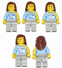 LEGO LOT OF 5 NEW FEMALE GIRLS MINIFIGURES FRIENDS BLUE SHIRT BROWN HAIR