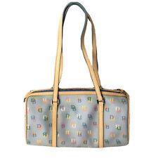 Dooney & Bourke Barrel Bag Periwinkle Blue Logo Rainbow Zipper Coated Canvas NWT