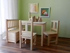 Kindersitzgruppe + Kindersitzbank mit praktischer Deckelbremse UNBEHANDELT NEU