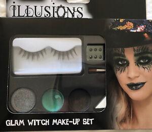 Halloween Glam Witch Make Up Set - Eyelashes Gems,  Black Green Glitter Paints