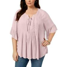 Style & Co Women's Plus Lace Up Pintuck Sheer Ruffled 3/4 Sleeve Blouse Size 3X