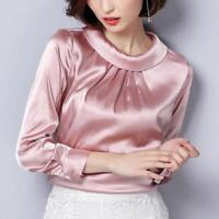 Women Satin Silk Shirt Retro Pleated Long Sleeve Shiny Blouse Pullover Tops Sz