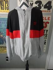 Vintage Adidas Fleece Jacket Sweater Break Dancing Grey Black Red X-Large XL