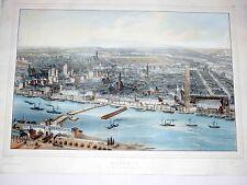 Mainz Rhein Gesamtansicht Kolorierte Lithographie um 1850