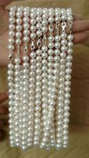 AA++  Lots 10 Strands 9mm round white genuine pearl necklace s925 lobster clasp