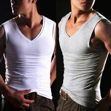 Men's Sleeveless Micro Modal V-Neck  Slim Fit Vest Muscle T-Shirt Tank Tops
