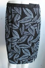 Ann Taylor Loft Black Blue Leaf Wrap Silk Wool Skirt Size 4