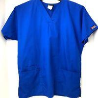 Cherokee Scrub Top Small Solid Blue Dental Medical Nurse Size S