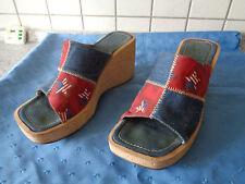 Schuhe Pantoletten Pantoffel Plateau-Schuhe blau-rot-beige USA-Jeans-Look Gr. 38