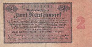 2 RENTENMARK FINE BANKNOTE FROM GERMANY 1923 PICK-162  RARE