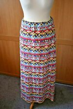 Tom Franks Ladies Maxi Skirt - Size 12 - Aztek Pattern Pink Yellow Blue Stretch