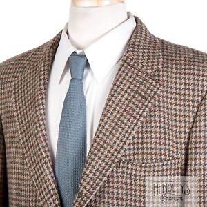 Vintage 90s BROOKS BROTHERS Sport Coat 42S Bronze Caramel Houndstooth Wool Tweed