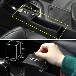 Black PU For Car Seat Storage Box Catcher Gap Filler Collector Cup Holder Trendy