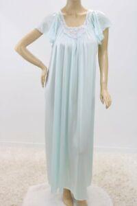 Vintage Vanity Fair Long Nightgown Soft Nylon Sea Foam Blue Large USA
