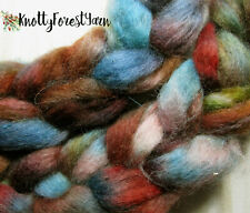 Hand Dyed Wool Roving Saddle & Sky Spinning Felting Dolls 1/2oz by Knotty Forest