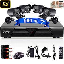4CH HD Video Surveillance CCTV D1 DVR Security System 4 Outdoor IP IR Cameras
