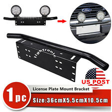 Bull Bar Front Bumper License Plate Mount Bracket Holder Offroad Light Bar Jeep