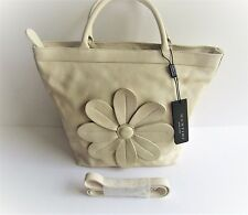 "MONTINI Italy Gorgeous New ""Sunflower"" Cream Leather Large Tote Bag-V111/4"