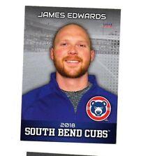 James Edwards 2018 South Bend Cubs team set card Chicago Cubs Low A