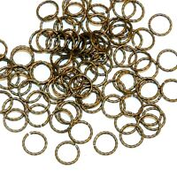 M5180 Antiqued Gold 6mm Twisted Round Jumpring Plated Brass 20-gauge Wire 100pc