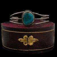 Antique Vintage Native Navajo Pawn Sterling Silver Turquoise Cuff Bracelet 10.9g