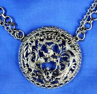Huge Runway Vintage Napier Necklace Large Medallion Pendant Lion Phoenix