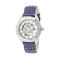 Empress Godiva Automatic MOP White Dial Purple Leather Women's Watch EM1105