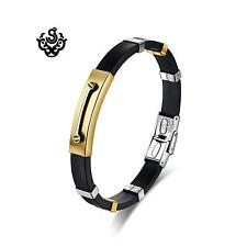 Gold bar bracelet stainless steel black silicon silver screw