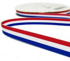 "5 Yd Patriotic Tri Stripe Red White Blue Striped Grosgrain Ribbon 5/8""W"