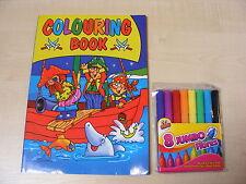 niños infantil Libro Para Colorear Pad + 8 JUMBO Rotuladores - NUEVO