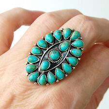 R975  Splendide Grande  Bague Style Amérindien Argent Massif 925  Turquoise t59