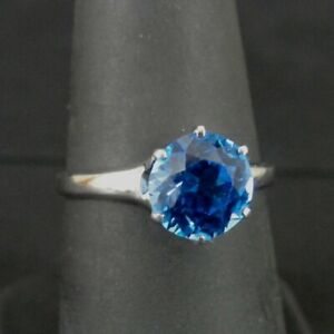 Uncas Ring Silver Blue Solitaire Stone Vintage Sterling 925 Size 7 Ring Band