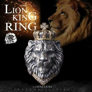 Stainless Steel The Lion King Diamond Crown Ring Men Cool Hip Hop Punk Jewelry
