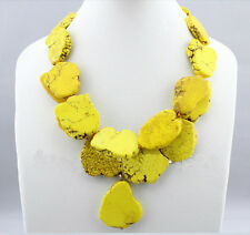 Exaggerate Woman Yellow Turquoise Slice Stone Choker Necklace Pendant 2 Strands