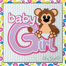 BABY GIRL BEAR  Paper Piecing Embellishment card toppers and scrapbooking