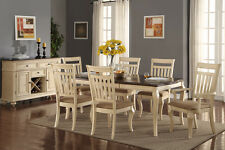 Formal Dining 7pc set Dining Table Chairs Cream Cushion Seat Wood Finish Chair