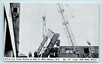 Brooklyn, NEW YORK - 1965 TRAIN WRECK DISASTER POSTCARD - CRANE LIFTING CAR - S2