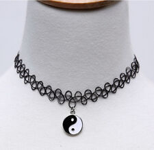 Black Tattoo Choker Stretch Henna Vintage Elastic Necklace with Yin Yang Charm
