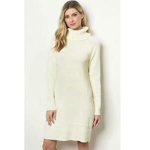 London Ivory Rib Knit Funnel Neck Turtleneck Cozy Tunic Sweater Dress S M L XL