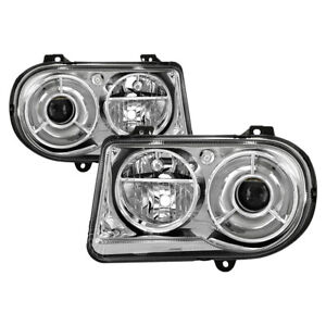 Fit 05-10 Chrysler 300C Chrome Housing Replacement Headlights Driver+Passenger