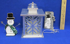 Lantern Candle Holder Flameless Snowflake Stain Glass Snowman Metal Snowman Tag