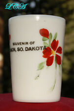 Antique MILK-WHITE glass BISON SOUTH DAKOTA souvenir cup OVER a CENTURY old
